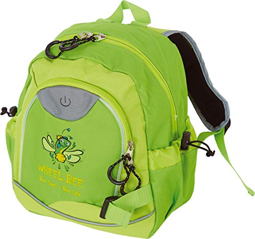 Wheel-Bee Kinder Rucksack Kiddy Bee, mit integriertem LED Licht (grün) und Reflektorstreifen für Sicherheit und Sichtbarkeit, 10 Liter, für Kindergarten und Freizeit, 950012