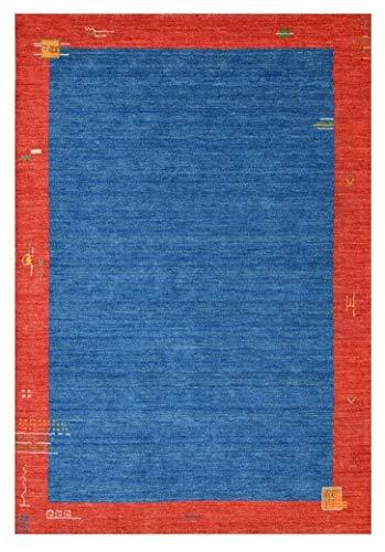 Morgenland Gabbeh Teppich BAROSSA Blau Handgewebt Bordüre 200 x 150 cm
