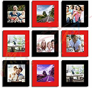 Art street Art Street Square Red and Black - Set of 9 Individual Photo Frame (5x5)