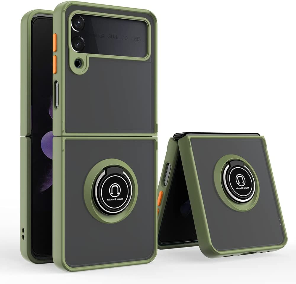 Futanwei Translucent Matte Cases for Samsung Galaxy Z Flip 3 5G Case, Military Grade Shockproof Protective Case Cover with Ring Holder Stand/Kickstand for Samsung Galaxy Z Fold3 5G (2021), Army Green