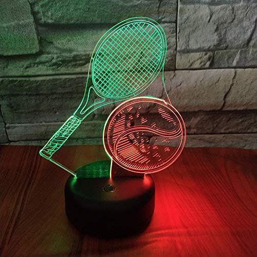 HHANN Lampade 3D Illusione Ottica Luce Notturna,Racchetta Da Tennis Lampada Led Da Tavolo 16 Colori Controllo Tattile Lampada Decorazione Da Comodino Con Cavo Usb Per Bambini Regalo
