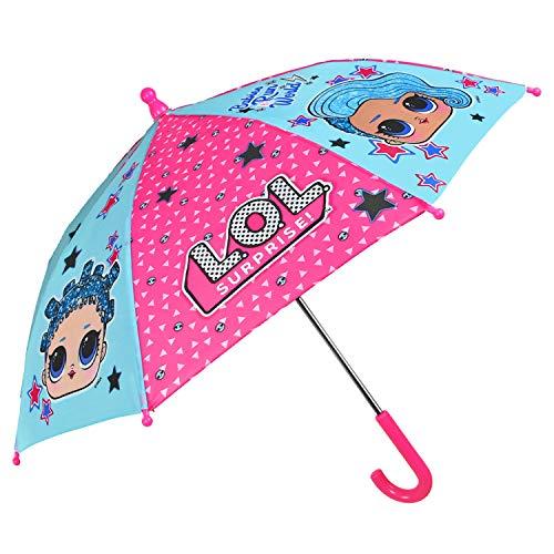 Paraguas LOL Surprise Niña Manual Largo - Sombrilla Muñecas Lolly Resistente Antiviento - Paraguas Niñas 3/5 Años con Abertura de Seguridad - Fucsia y Turquesa - Diámetro 66 cm - Perletti Kids