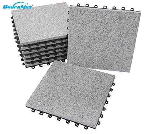 BodenMax® LLGRA001-GRY-5 Granit-Classic Click Bodenfliesen Set 30 x 30 cm Terassenfliesen Terassenplatte Stein Fliese Klickfliesen Balkonfliesen Innenbereich Außenbereich grau (8 Stück)