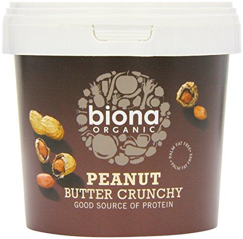 Biona Organic Peanut Butter Crunchy, 1 kg, Pack of 2