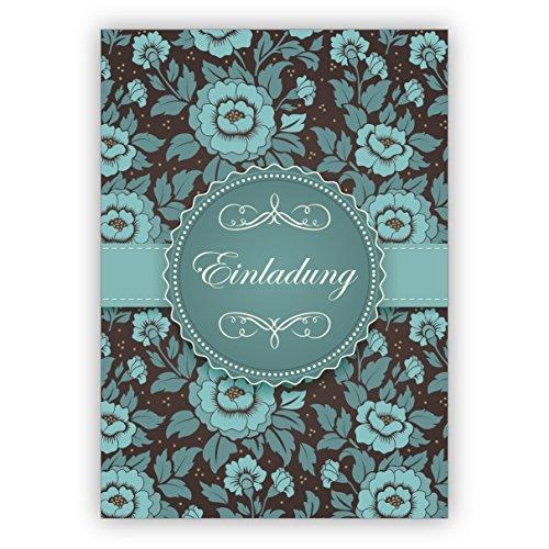 10 Grußkarten Feierliche hellblau türkise Einladungskarte zur Hochzeit, Taufe, Geburtstag, Firmung auf feinem Rosen Muster: Einladung • im Set mit Umschlägen um Freunde und Familie einzuladen