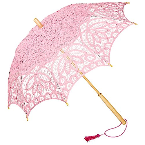 VON LILIENFELD Hochzeitsschirm Brautschirm Vivienne Battenburg Spitze Deko Sonnenschirm Accessoire pink rosa