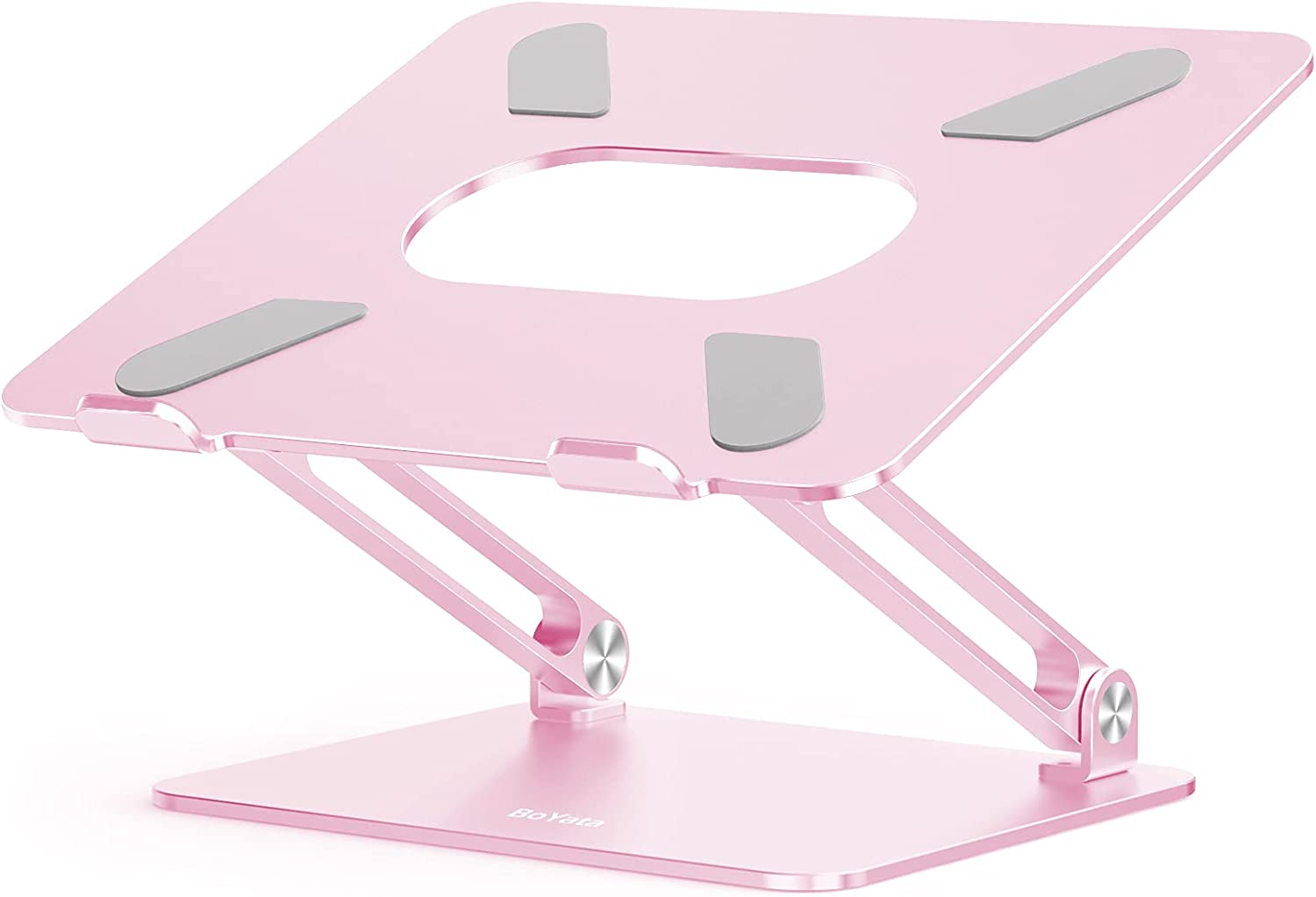 Boyata Laptop Stand, Adjustable Ergonomic Laptop Holder, Aluminium Alloy Notebook Stand Compatible for MacBook Pro/Air, Dell XPS, Lenovo, Samsung Laptops Up to 17 inches-Pink