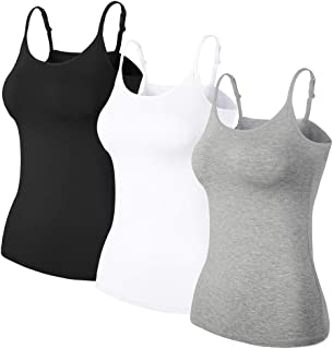 TAIPOVE Women Camisoles with Adjustable Elastic Straps Shelf Padded Bra Tank Tops 1/3 Pack