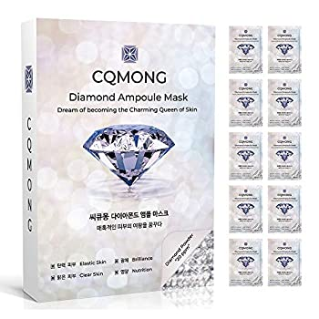 CQMONG Diamond Ampoule Sheet Mask 10 PCS 1 Box | Korean Collagen Face Facial Mask Pack for Anti-wrinkle Elasticity Vitality Moisture Brilliance Nutrition | Skin Soothing Skin Tone Improvement