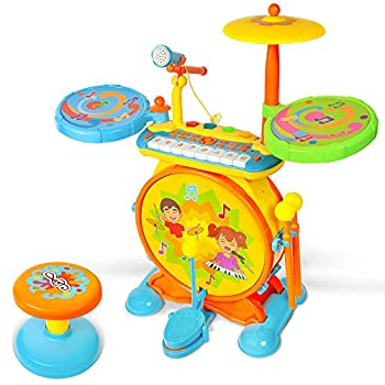 TOONIT Jamz Girls & Boys Keyboard & Drum Set with Children's Musical Instruments  Kids Piano Electronic Drum Set Kid Microphone Sing-Along Play and Colorful Lights
