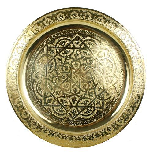 Marokkanisches Serviertablett rund Karam Ø 50 cm aus Messing | Orientalisches Teetablett in der Farbe Gold | Echtes Kunsthandwerk aus Marrakesch | Tablett für kreative Dekoration Idee | TA6051