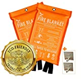 Supa Ant Eco-Friendly Fire Suppression Blanket (39.3x39.3in) CE certified, Reusable +2 Hooks, Flame&Heat Retardant, Emergency Fire Blanket for Home Kitchen Office Car (High Visibility Edition, 1500֯F)