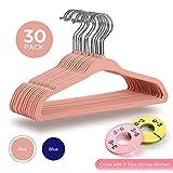 JSLHOME Perchas para bebés, perchas para ropa con divisores de niños, paquete de 30, gancho giratorio de 360 grados, material flocado antideslizante, ahorro de espacio ultra delgado (rosa)