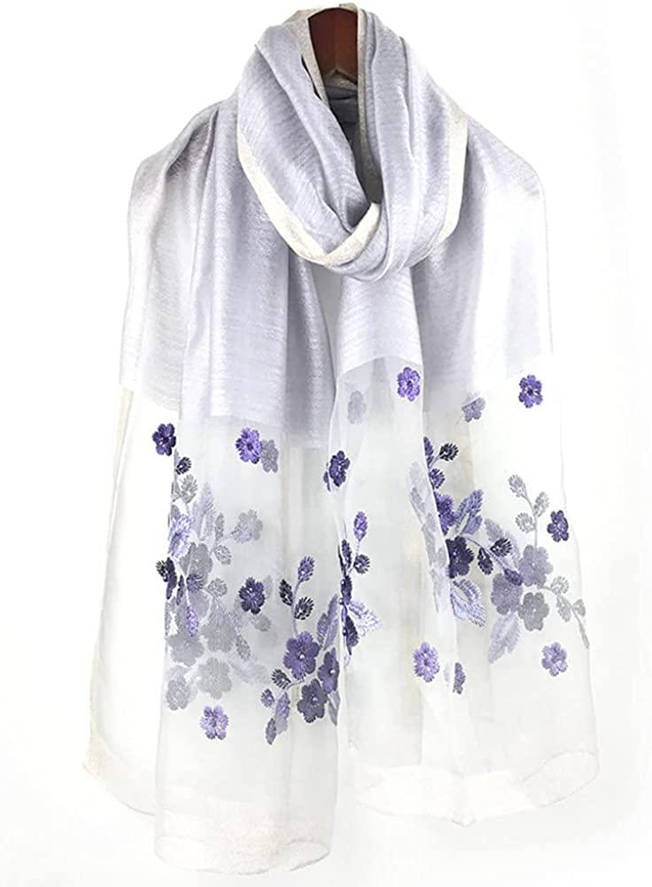 Embroidered Silk Scarf Shawls, Oversized Mulberry SilkFeeling Hair Twill SilkShawls Wrap
