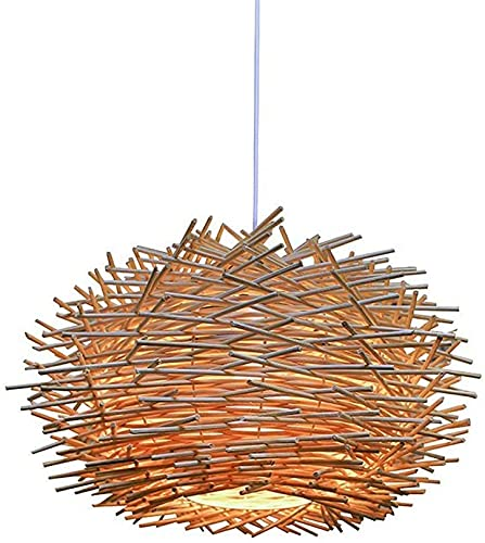 BILYSKEP Rattan Pendelleuchte, verstellbarer Vogelnest-Kronleuchter, Schlafzimmer Esszimmer Deckenleuchte 300 x 170 mm