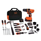 BLACK+DECKER 20V MAX Drill & Home Tool Kit, 68 Piece (LDX120PK), Black/Orange