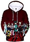 YIMIAO My Hero Academia Japonesa Anime Patrón Casual Sudadera con Capucha Impresión 3D Deportiva para Hombres Mujeres Mangas largas Cordón Pullover(XXS)