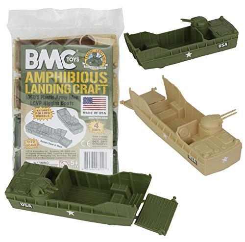 BMC Classic Marx Landing Craft - 4pc Tan vs. OD Green Plastic Army Men Vehicles