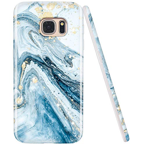 JIAXIUFEN Galaxy S7 Case Gold Sparkle Glitter Blue Marble Design Flexible Bumper TPU Soft Rubber Silicone Cover Phone Case for Samsung Galaxy S7
