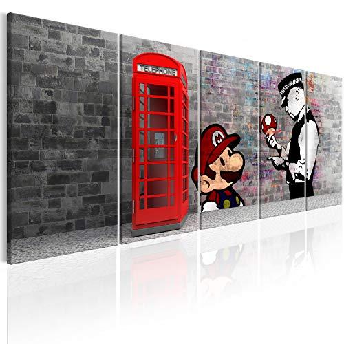 murando Acrylglasbild Banksy Mario 200x80 cm 5 Teilig Wandbild auf Acryl Glas Bilder Kunstdruck Moderne Wanddekoration - London Street Art Urban Mural i-C-0104-k-m