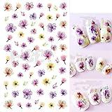 Wtbhd 12 diseños de uñas Pegatinas Conjunto Mixto de uñas geométrico Floral Chica de Transferencia de Agua del Arte Calcomanías Tatuajes Sliders manicura Pegatina de uñas (Color : F021)