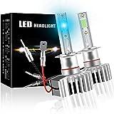 2x H1 LED Bombilla Coche 12000LM 12V 60W 6000K azul Reemplace los faros LED de coche Mini 1: 1 Diseño Refrigeración rápida Kit de faros