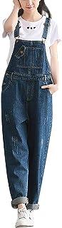 timecrashデニムオーバーオール レディース オールインワン サロペット ジーンズ ロングパンツ ゆったりワイドパンツ デニム素材 ポケット付き カジュアル 体型カバー 大きいサイズ S-2XL