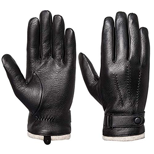 Mens Genuine Leather Gloves Winter - Acdyion Touchscreen Cashmere/Wool Lined Warm Dress Driving Gloves