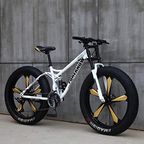 Langlin Mountain Bike Speed Bike da 26 Pollici 7/21/24/27 Telaio in Acciaio ad Alto tenore di Carbonio Sistema di Freno a Doppio Disco Bicicletta da Montagna per Uomo Fat Tire,Bianca,7 Speed