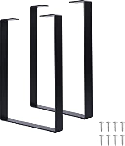 VIVIJASON 16 inch Tall Black Table Legs - U Shape Square Metal Furniture Legs - DIY Cast Iron Legs for Bench, Coffee Table, End Tables, Night Stands, Side Table, Console Table, Set of 2