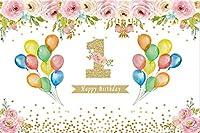 新しい花1歳の誕生日の背景7x5ft 1歳の女の子の誕生日写真の背景春の花の花の女の子の部屋の装飾ケーキスマッシュパーティーテーブル画像booth小道具デジタル壁紙