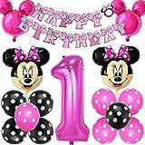Fournitures de Fête à Thème Mickey et Minnie, BESTZY Minnie Balloons Décorations de Fête sur Le thème Minnie Décorations Joyeux Anniversaire bannière pour Anniversaire Baby Shower (Rose Rouge)