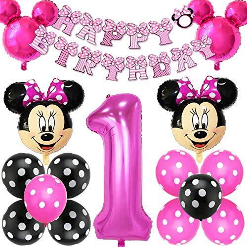 Decoraciones de cumpleaños de Mickey Mouse, BESTZY Globos número para la Fiesta Temática de Mickey Mouse Artículos de Fiesta de Mickey y Minnie para Primer Cumpleaños(Rosa Roja)
