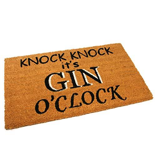 Black Ginger, Türmatten, aus Kokosfaser, dick und dekorativ, gemustert im Naturdesign Gin O'clock