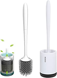 COSTOM Silicone Toilet Brush and Holder Upgraded Modern Design with Soft Bristle, Bathroom Toilet Bowl Brush Set,Toilet Cleaning Brush Kit, Constructed of Durable Thermo Plastic Rubber (Floor)