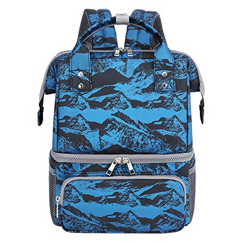 Sonline Insulation and Warm Baby Milk Double Shoulder Insulation Bag Portable Fashion Printing Mother and Baby Bag-Blue