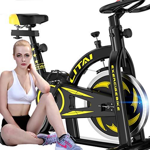 Ciclismo Interior Bicicleta giratoria Estudio de Bicicleta Bicicleta Máquina Deportiva Manija y Asiento Ajustables Velocidad de Lectura, Distancia, Tiempo, calorías + Pulso,Black