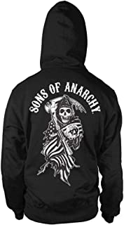 Sons of Anarchy Officially Licensed American Reaper Big & Tall Zipped Hoodie (Black)