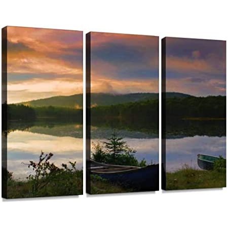 Amazon Com Yking1 Canoe On The Shore During A Vibrant Sunrise Sunset In The Adirondack Mountains Wall Art Painting Pictures Print On Canvas Stretched Framed Artworks Modern Hanging Posters Home Decor 3panel Posters