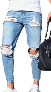pujingge Mens Pants Distressed Jeans Washed Stretchy Tapered Leg With Holes Ripped Denim Pants 1 US X-Small