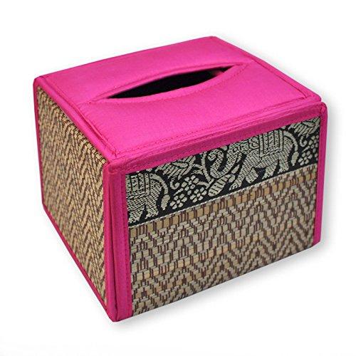 Housse pour boîte à mouchoirs carrée, rose, serviettes papier, lingettes (19864)