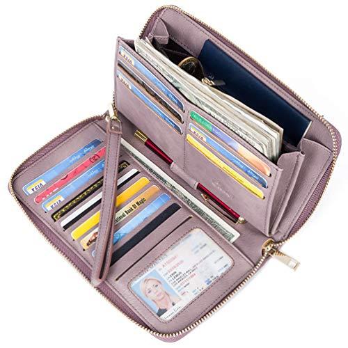 Geldbörse Damen Leder Gross Frauen Clutch Portemonnaie Groß Geldbeutel Lang Portmonee mit 15 Kartenfächer Violet