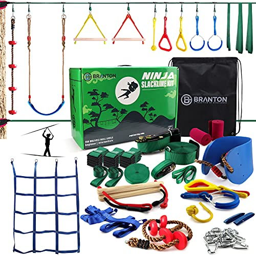B BRANTON Ninja Warrior Obstacle Course for Kids - 2X50FT Ninja Slackline with Most Complete Accessories for Kids, 2 Slacklines, Swing, Climbing Rope, Swing Straps, Obstacle Net Plus Arm Trainer