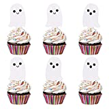 24Pcs Ghost Cupcake Toppers Glitter- Halloween Baby Shower,Halloween Cupcake Toppers,Ghost Decorations,Halloween Birthday Party Decorations