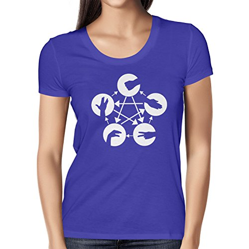 Texlab dames TBBT: schaar steen papier echse Spock T-shirt Marine, XL