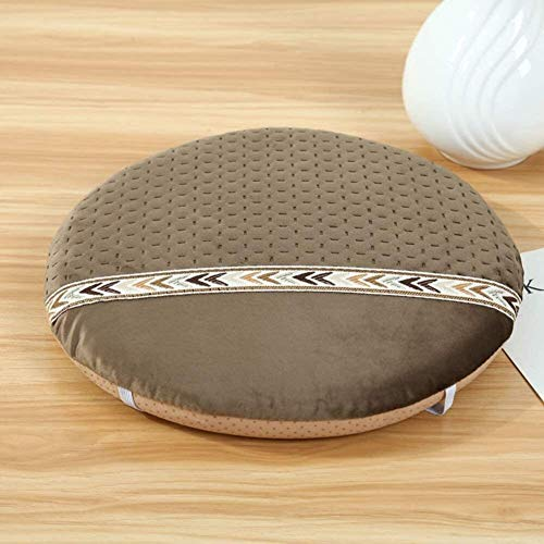 Home Soft Thicken Chair Pad For Office Non Slip Futon Seat Cushion Tatami Floor Cushion Round Memory Foam Chair Cushion (Color : A, Size : Diameter:34cm(13inch))