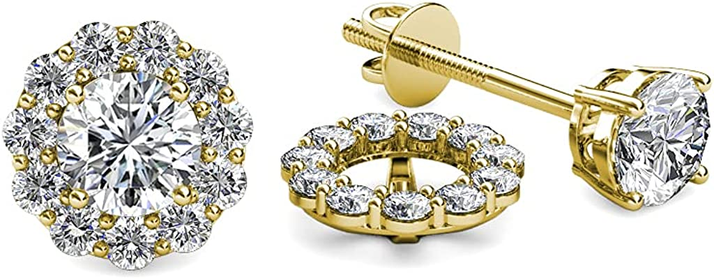TriJewels Diamond Halo Jacket for Stud Earrings (SI2-I1, G-H) 0.54 ct tw in 14K Yellow Gold