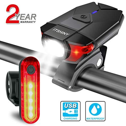 ITSHINY Set di luci per la Bicicletta Batteria Ricaricabili e luci LED Impermeabili per Moutain Bike, Kit di fanali- luci Anteriori e Posteriori combinate USB (all Black)
