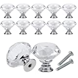 YCDC Crystal Drawer Cabinet Knobs Diamond Shaped Crystal Glass Knobs Pulls 20mm for Dresser&Kitchen, Wardrobe&Cupboard DIY Pull Handle (10Pack, Silver)