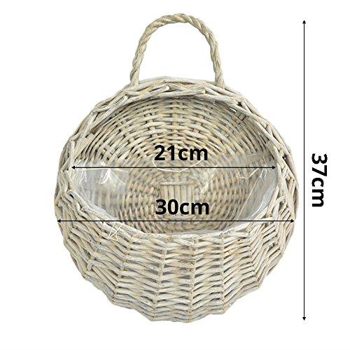 Fastar Wicker Rattan piante Vasi, Waven Flower Basket Parete attaccatura del supporto di vaso contenitore delle piante